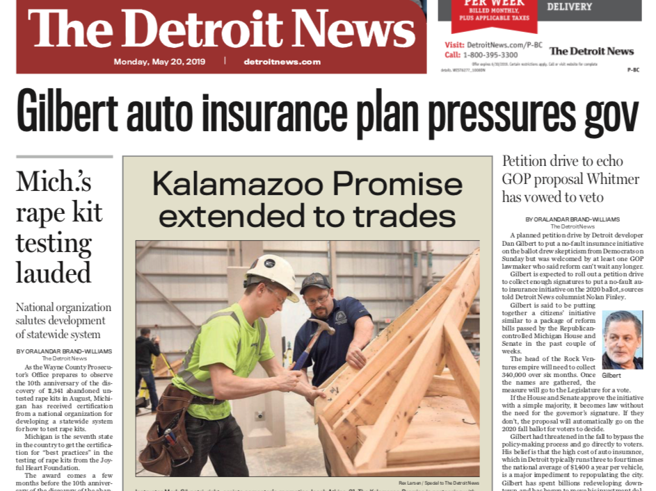 The front page of the Detroit News on Monday, May 20, 2019