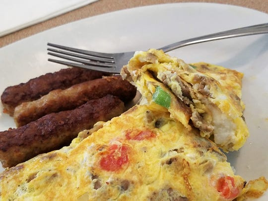A Greek omelet with sausage at Zack's Diner in Fort Branch.