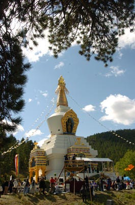 The Great Stupa of Dharmakaya is shown after being blessed by The Dalai Lama during a gathering of about 2700 people at The Shambhala Mountain Center northwest of Fort Collins Sunday Sept. 17, 2006.