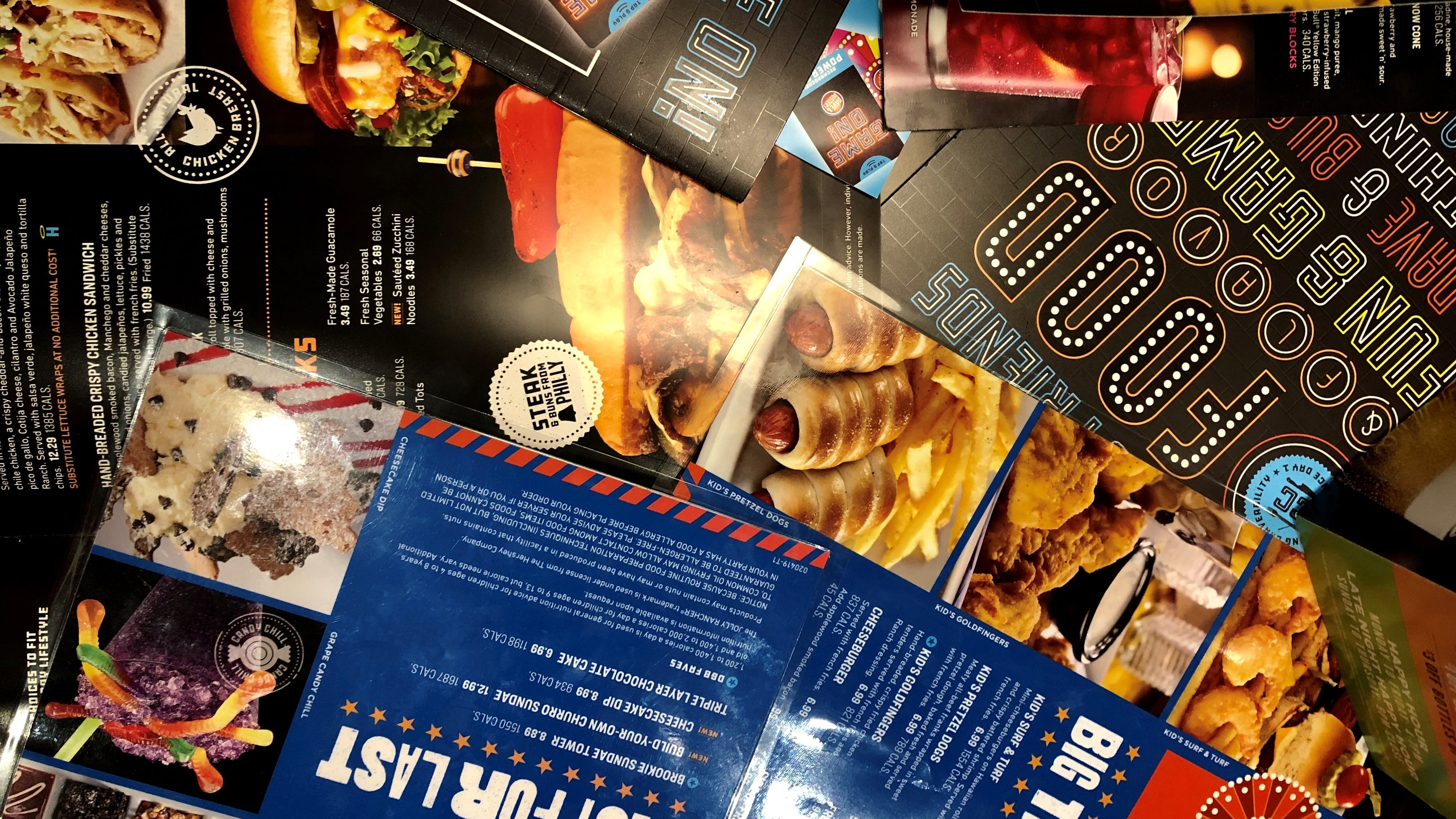 A sea of menus from Dave & Buster's in south Fort...
