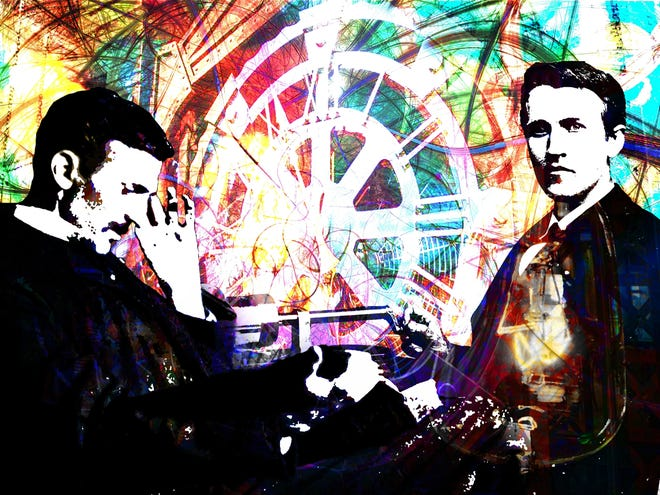 """Brad Bleich's digital painting """"Tesla Vs. Edison"""" shows inventors Thomas Edison (right) and Nikola Tesla  against a backdrop of wires and electronic components."""