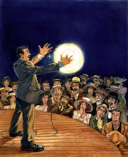 "Nikola Tesla demonstrates alternating current at the 1893 Chicago World's Fair in Oliver Dominguez's illustration from the 2013 children's book ""Electric Wizard: How Nikola Tesla Lit Up the World."""