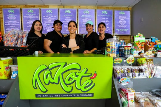 Takote's owner Ana Guerrero with her hard working team of women. (L to R) Nathalie Bustos, assistant manager, Aleida Martinez, chef, Ana Guerrero, owner, Lucy Cruz, prep cook, and Raquel Sanchez, prep cook.
