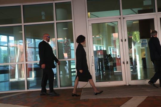 Kay Gow enters the federal courthouse in downtown Fort Myers on Monday May 20, 2019. She is being sentenced in the VR Labs case.