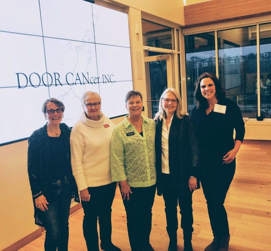 Members of 100+Women Who Care recently donated more than $14,000 to DOOR CANcer, a nonprofit that assists Door County families dealing with cancer. Pictured from left are: Ann Morgan, 100WWC cofounder; Mary Lu Norton, DoorCAN vice president; Kris Husby-Nelson, corresponding secretary; Chris Risch and Peggy Reineck, 100WWC cofounder.