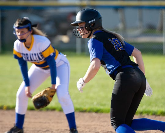Hannah Wusterbarth advances to second base on a passed ball in the May 13 game with Gibraltar.