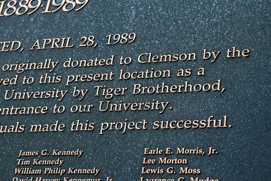 A sign from 1989 on the S.C. Highway 93 gateway to Clemson University celebrates the Centennial project and the supporters including Tiger Brotherhood.