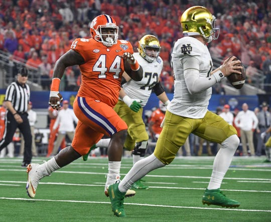 """Clemson defensive tackle Nyles Pinckney (44) gets his chance to play regularly now that the TIgers' """"Power Rangers"""" have moved on to professional football."""
