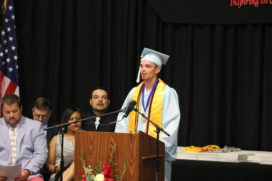 Senior Class Salutatorian Mason Welden gives his speech at UCHS graduation.
