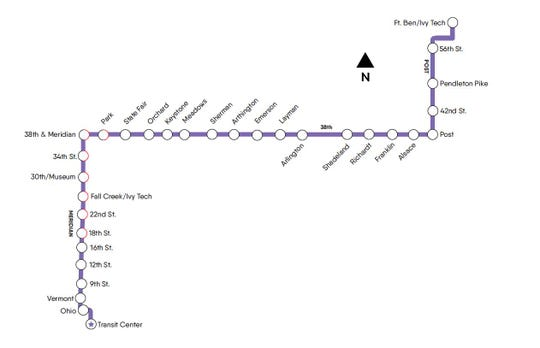 The IndyGo bus rapid transit Purple Line is scheduled to start running in late fall of 2021.