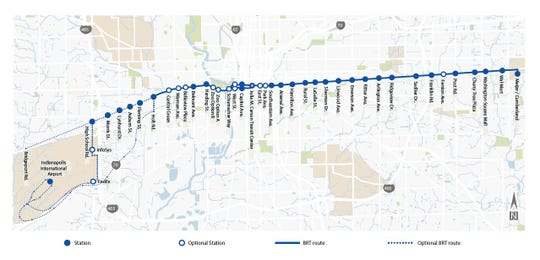 The IndyGo bus rapid transit Blue Line route map, expected to start running in fall 2022.