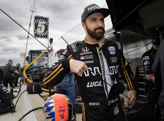 James Hinchcliffe (5) of Arrow Schmidt Peterson Motorsports during their practice session for the Indianapolis 500 at the Indianapolis Motor Speedway on Monday, May 20, 2019.
