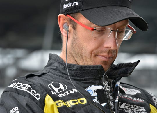 Sebastien Bourdais (18) of Dale Coyne Racing with Vasser-Sullivan during their practice session for the Indianapolis 500 at the Indianapolis Motor Speedway on Monday, May 20, 2019.