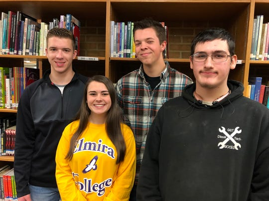 New inductees from S-VE High School into the National Technical Honor Society, from left to right: Brian Gillette, Brooke Schollenberger, Spencer Pelto, Takota Chilson.