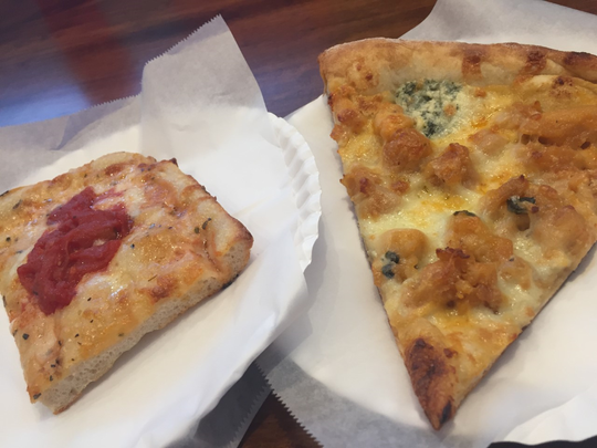 Pizza choices at Jaboni's Pizzeria in Maryville include Grandma's (mozzarella cheese and garlic herb sauce topped with Italian tomatoes) and Buffalo chicken (topped with mozzarella and blue cheese).