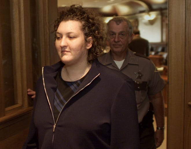 Anastazia Schmid leaves Tippecanoe Superior 2 on Oct. 2, 2002. Schmid is on trial for stabbing of her boyfriend and business partner Tony W. Heathcote.