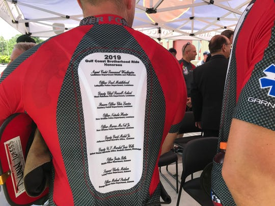 The Gulf Coast Brotherhood Bike Riders honor 12 first responders who  were killed while on duty. Two of this year's honorees are Lafayette Police Cpl. Michael Middlebrook and Wildlife and Fisheries Agent Immanuel Washington.