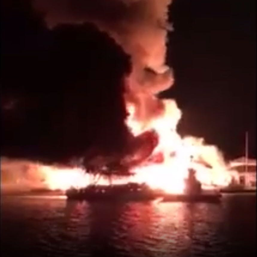 A massive fire breaks out at a marina on Lake Cumberland