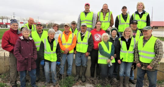 Lakeshore Snowmobile Club cleaned up a portion of Highway 10. Pictured in front, from left: Cory Prindle, Diana Prindle, Don Eisenschink, Joel Larson, Jan Larson, Pat Kressin, Roger Larson, Jon Kressin, Eugene Runnoe, Katie Vasinko, Diane Budnik, Gail Zaidel, Amy Braun, Phil Zaidel and Ron Budnik. Top row, from left: Tom Zich, Tim Braun, Ronnie Haensgen and Annie Haensgen.