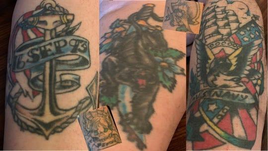 Manitowoc military veteran Kevin Bieber's tattoos.