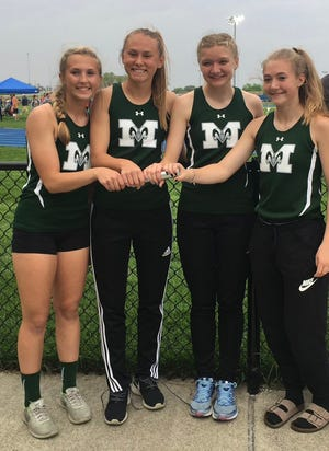 The 4x400 Madison relay team of Taylor Huff, Phyllis Stanfield, Montana Walker and Emily Atwell ran a new Findlay High School stadium record 4:01.94 during the Division I district meet. The time also broke a 42-year old school record.