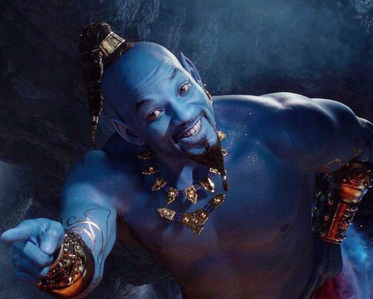 "Will Smith cracks wise till he's blue in the face in the live-action remake of ""Aladdin."""