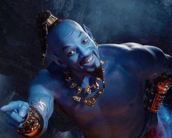 """Will Smith cracks wise till he's blue in the face in the live-action remake of """"Aladdin."""""""