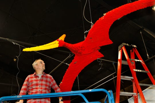Christian Kleffmann pauses while helping to hang an 80-pound pterosaur dinosaur on May 16 at the Milwaukee County Zoo.  The pterosaur was made with an estimated 40,000-50,000 Lego pieces.