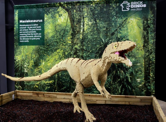 It took 60,000 Legos to build the Masiakasaurus, part of the Brick Dinos exhibit that will run May 25 through Sept. 2 at the Milwaukee County Zoo.