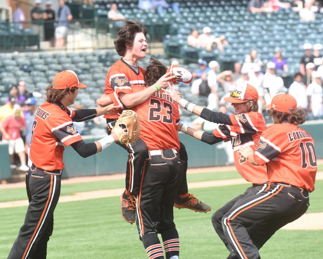 Viola Longhorns celebrate after the final out of the Class 1A State championship game at Baum-Walker Stadium.