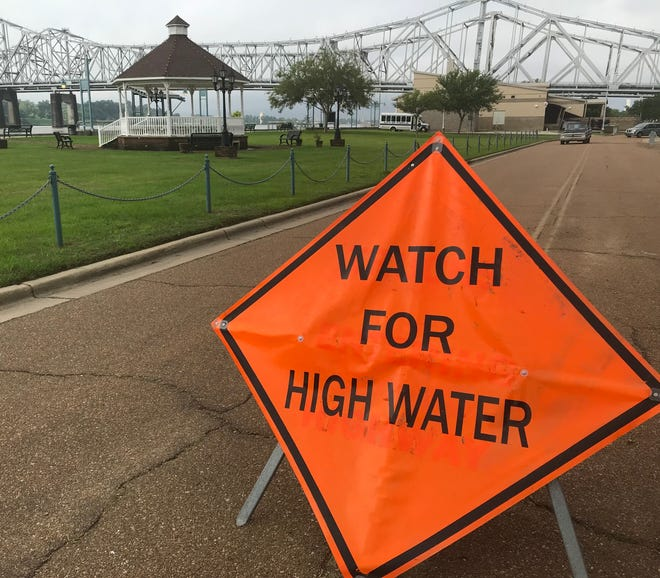 Vidalia's riverfront development has been threatened by the rising Mississippi River. This is the view on May 20, 2019.