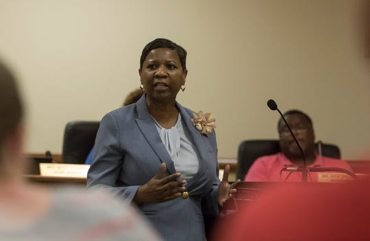 Stephanie Henderson, representing J.W. Brown Laboratory Charter School, addresses the Monroe City School Board and the audience gathered at the meeting on May 20 during public comment on the vote on the establishment of a charter school in Monroe, La.