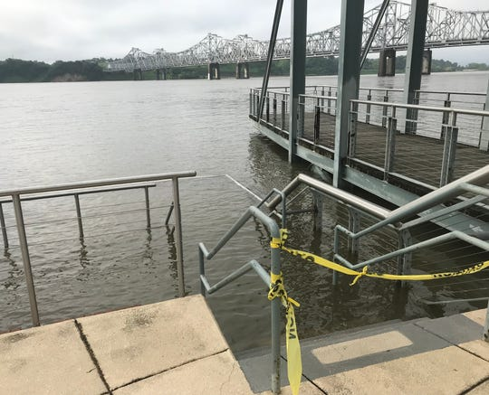 This steps at the Vidalia riverfront normally lead to an overlook of the Mississippi River, but on May 20 the water had reached the top step.