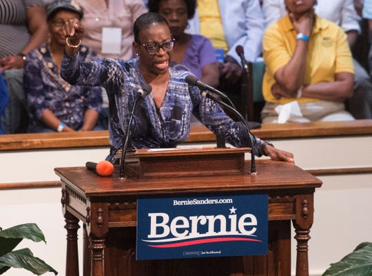 Sen. Nina Turner (D-Oh.) introduces 2020 Presidential candidate Sen. Bernie Sanders (I-Vt.) at the Mt. Zion AME Church  in Montgomery, Ala., on Monday, May 20, 2019.