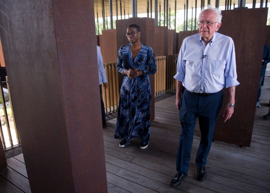 2020 Presidential candidate Sen. Bernie Sanders (I-Vt.) and Sen. Nina Turner (D-Oh.) tour at the EJI Peace and Justice Memorial in Montgomery, Ala., on Monday, May 20, 2019.