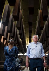 Sen. Nina Turner (D-Oh.) and 2020 Presidential candidate Sen. Bernie Sanders (I-Vt.) tour at the EJI Peace and Justice Memorial in Montgomery, Ala., on Monday, May 20, 2019.