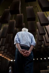 2020 Presidential candidate Sen. Bernie Sanders (I-Vt.) tours at the EJI Peace and Justice Memorial in Montgomery, Ala., on Monday, May 20, 2019.