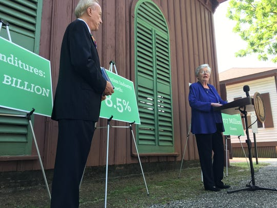 Alabama Tourism Director Lee Sentell, left, and Gov. Kay Ivey speak Monday at Old Alabama Town in Montgomery.