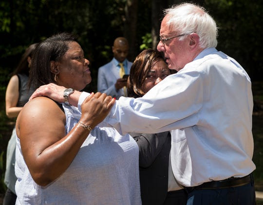 2020 Presidential candidate Sen. Bernie Sanders hugs Pamela Rush after visiting her home in Tyler, Ala., on Monday, May 20, 2019.