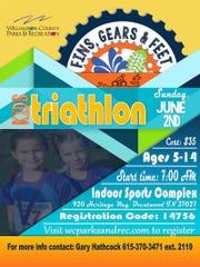 Fins, Gears & Feet kids triathlon poster