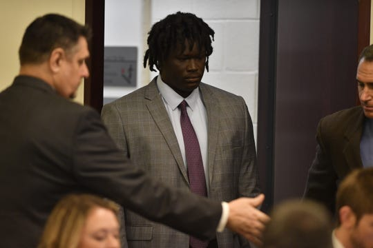 Emanuel Samson enters the courtroom for the first day of his trial in the 2017 Antioch church shooting, Monday, May 20, 2019.