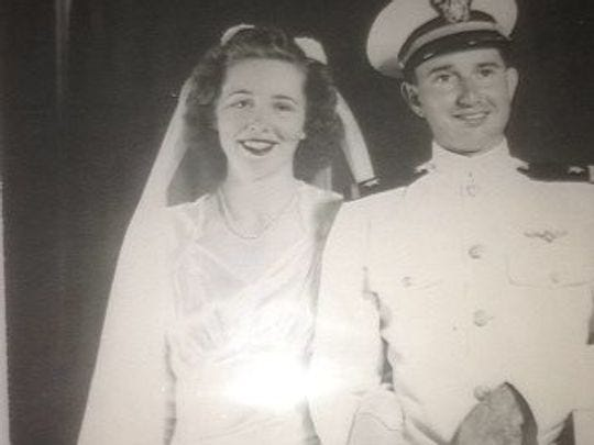 Flossie and Max Anderson on their wedding day in 1944.