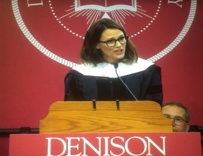 """Actress and Denison University graduate Jennifer Garner delivered the 2019 May Commencement speech. Here,Denison President Adam Weinberg speaks of Garner's many accomplishments before presenting her with what he described as """"her second Denison degree."""""""