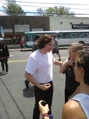 "Michael Gandolfini chats while on set filming ""The Many Saints of Newark"" in Bloomfield May 20, 2019."