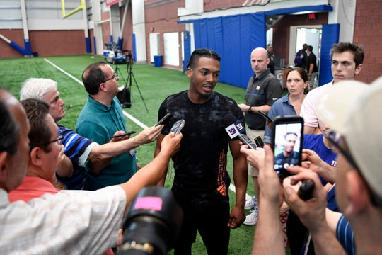 New York Giants cornerback Sam Beal talks to reporters after the first Giants OTA on Monday, May 19, 2019, in East Rutherford.