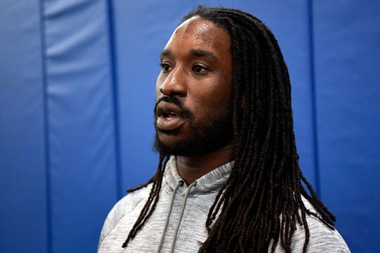 New York Giants linebacker Markus Golden talks to NorthJersey.com's Art Stapleton (not pictured) after the first Giants OTA on Monday, May 19, 2019, in East Rutherford.