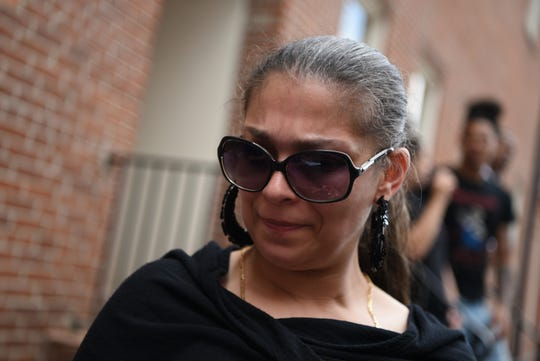 Mary Luke, mother of Cyprian Luke, 19, of Morristown, spoke with reporters outside of Morris County Superior Court on Monday, May 20, 2019 after her son appeared in court. Luke who had an outstanding warrant out for domestic violence, was beaten badly by police as he was held on the ground and arrested in Dover early Sunday, a video recorded by a friend shows.