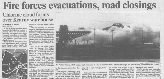 This clip from the April 12, 1993 Record shows story about a chlorine fire at the Alden Leeds chlorine factory in Kearny, with smoke obscuring the Pulaski Skyway.