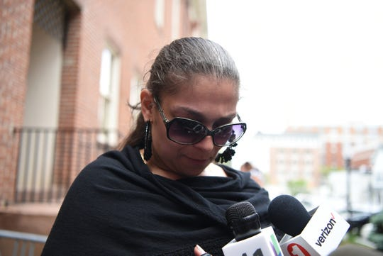 Mary Luke, mother of Cyprian Luke, 19, of Morristown, speaks with reporters outside of Morris County Superior Court on Monday, May 20, 2019 after her son appeared in court. Luke who had an outstanding warrant out for domestic violence, was beaten badly by police as he was held on the ground and arrested in Dover early Sunday, a video recorded by a friend shows.