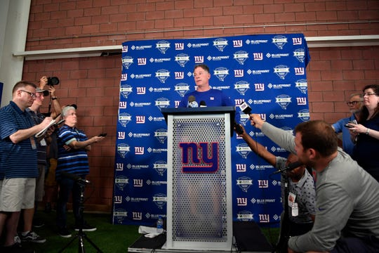 New York Giants head coach Pat Shurmur answers questions from the media after the first Giants OTA on Monday, May 19, 2019, in East Rutherford.